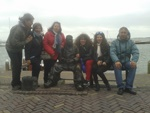 With group on a bench in Volendam 2015